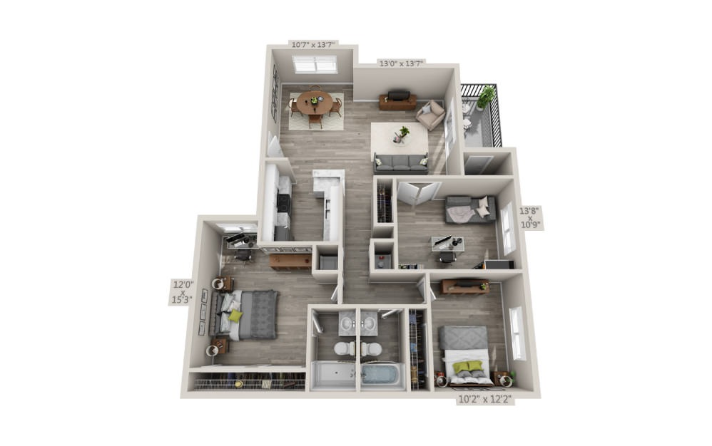 Egret - 3 bedroom floorplan layout with 2 baths and 1204 square feet.