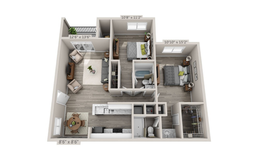Heron - 2 bedroom floorplan layout with 2 baths and 983 square feet.
