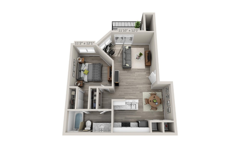 Sandpiper - 1 bedroom floorplan layout with 1 bath and 703 square feet.