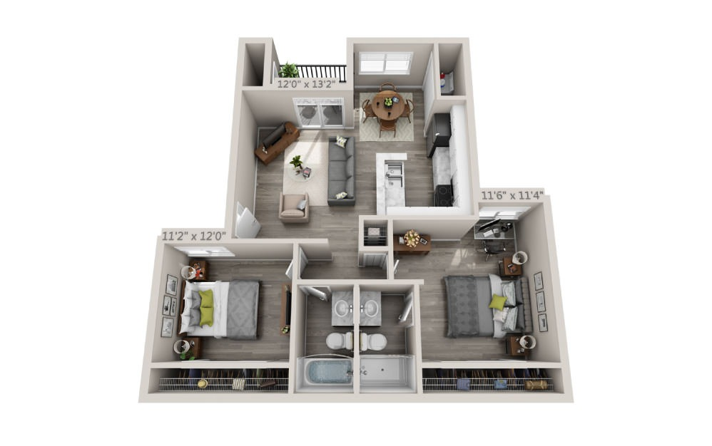 Ibis - 2 bedroom floorplan layout with 2 baths and 950 square feet.